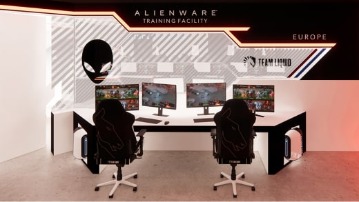 3D room render of inside Alienware training facility Europe